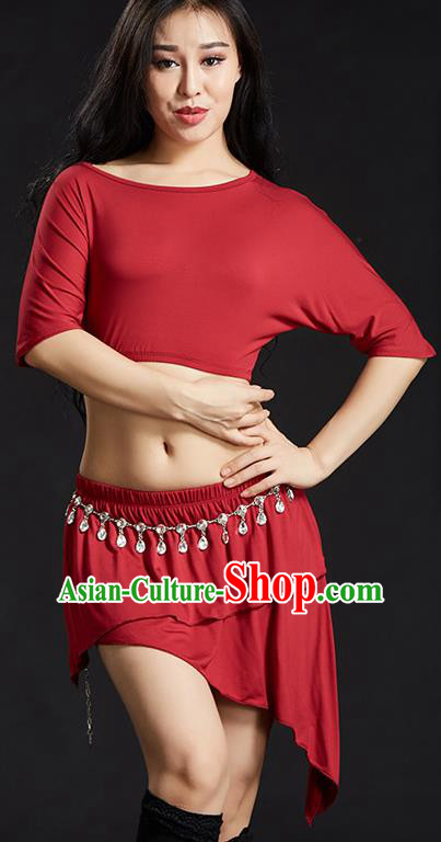 Indian Traditional Yoga Costume Red Uniform Oriental Dance Belly Dance Stage Performance Clothing for Women