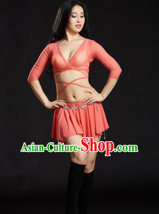 Indian Traditional Yoga Costume Pink Uniform Oriental Dance Belly Dance Stage Performance Clothing for Women