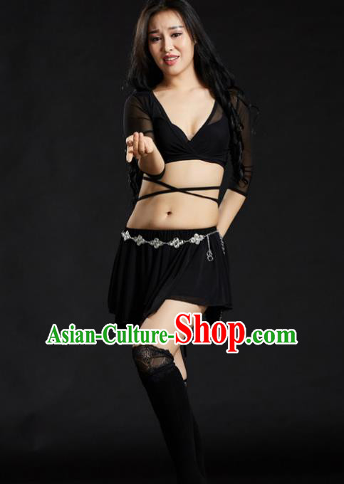 Indian Traditional Yoga Costume Black Uniform Oriental Dance Belly Dance Stage Performance Clothing for Women