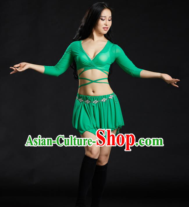 Indian Traditional Yoga Costume Green Uniform Oriental Dance Belly Dance Stage Performance Clothing for Women