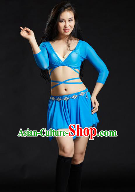 Indian Traditional Yoga Costume Blue Uniform Oriental Dance Belly Dance Stage Performance Clothing for Women