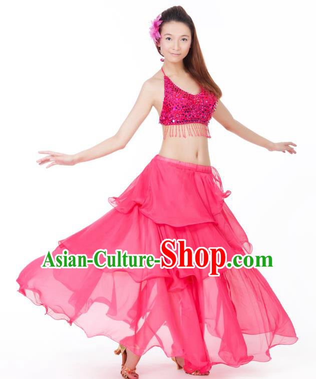 Indian Traditional Dance Rosy Dress Oriental Belly Dance Stage Performance Costume for Women
