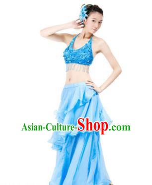 Indian Traditional Dance Blue Dress Oriental Belly Dance Stage Performance Costume for Women