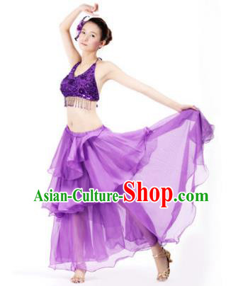 Indian Traditional Dance Purple Dress Oriental Belly Dance Stage Performance Costume for Women