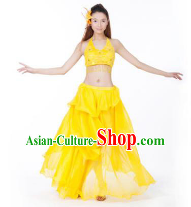 Indian Traditional Dance Yellow Dress Oriental Belly Dance Stage Performance Costume for Women