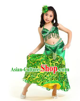 Indian Traditional Belly Dance Green Dress Oriental Dance Performance Costume for Kids