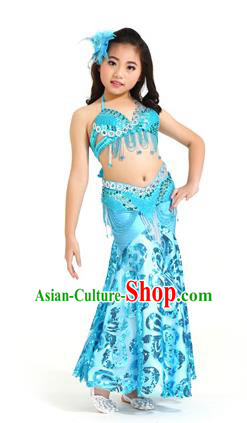 Indian Traditional Belly Dance Blue Dress Oriental Dance Performance Costume for Kids