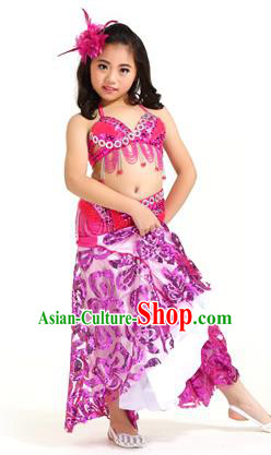 Indian Traditional Belly Dance Rosy Dress Oriental Dance Performance Costume for Kids
