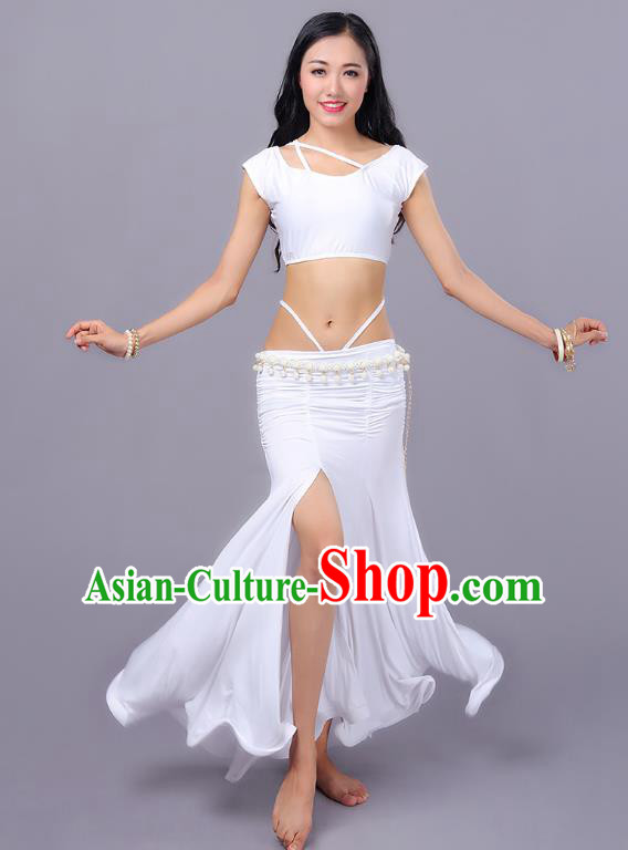 Indian Traditional Belly Dance Costume Classical Oriental Dance White Dress for Women