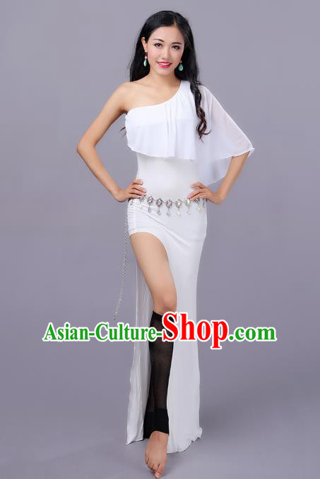 Top Indian Belly Dance White Dress India Traditional Oriental Dance Performance Costume for Women