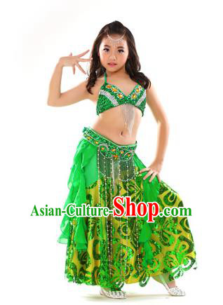 Top Indian Belly Dance Green Dress India Traditional Oriental Dance Performance Costume for Kids