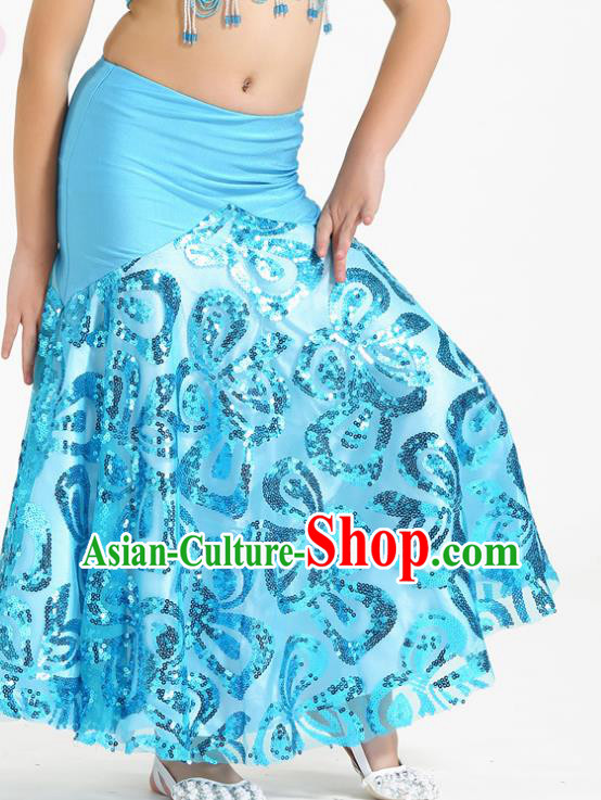 Top Indian Belly Dance Children Blue Skirt India Traditional Oriental Dance Performance Costume for Kids