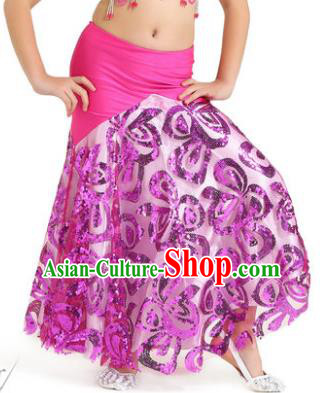 Top Indian Belly Dance Children Rosy Skirt India Traditional Oriental Dance Performance Costume for Kids