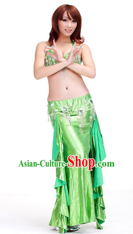 Top Indian Belly Dance Green Dress India Traditional Raks Sharki Oriental Dance Performance Costume for Women