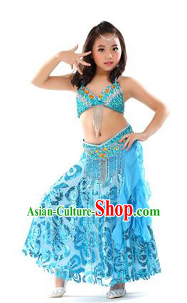 Top Indian Belly Dance Blue Dress India Traditional Oriental Dance Performance Costume for Kids