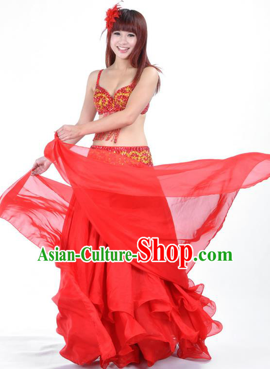 Indian Traditional Bollywood Belly Dance Costume Classical Oriental Dance Red Dress for Women