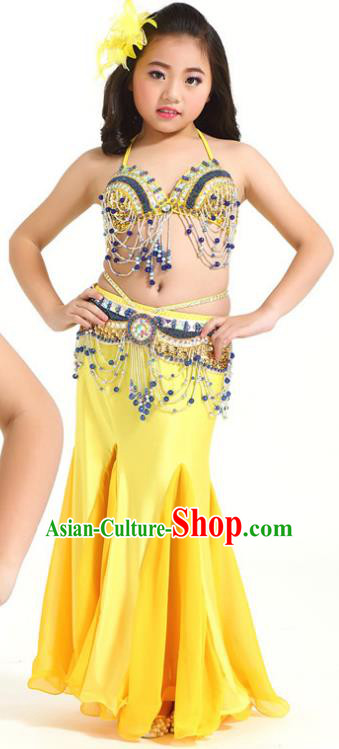 Indian Traditional Children Belly Dance Costume Classical Oriental Dance Yellow Dress for Kids