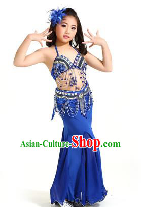 Indian Traditional Children Belly Dance Costume Classical Oriental Dance Royalblue Dress for Kids