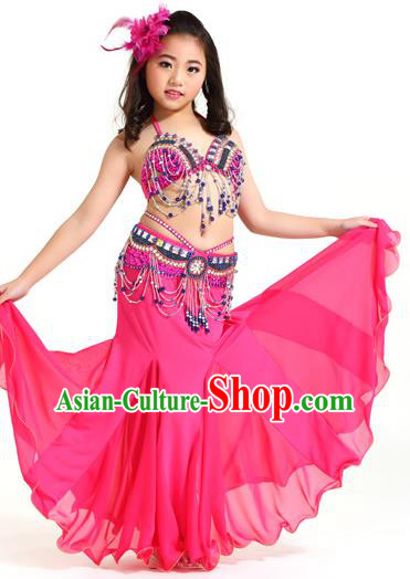 Indian Traditional Children Belly Dance Costume Classical Oriental Dance Rosy Dress for Kids