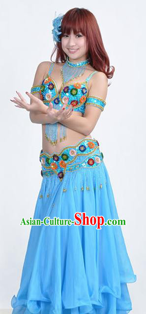 Indian Traditional Belly Dance Performance Costume Classical Oriental Dance Blue Dress for Women