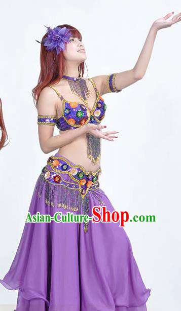 Indian Traditional Belly Dance Performance Costume Classical Oriental Dance Purple Dress for Women