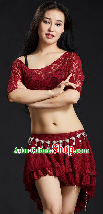 Indian Traditional Belly Dance Performance Costume Classical Oriental Dance Red Lace Dress for Women