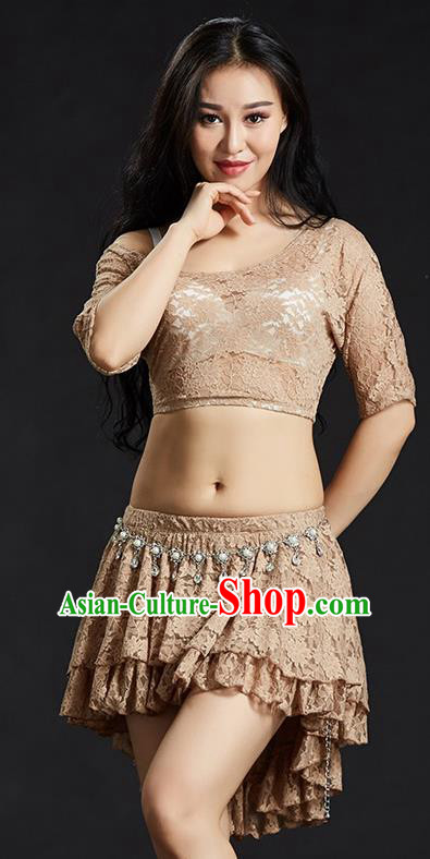 Indian Traditional Belly Dance Performance Costume Classical Oriental Dance Khaki Lace Dress for Women