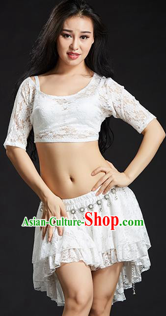 Indian Traditional Belly Dance Performance Costume Classical Oriental Dance White Lace Dress for Women