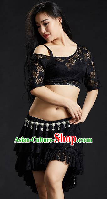 Indian Traditional Belly Dance Performance Costume Classical Oriental Dance Black Lace Dress for Women