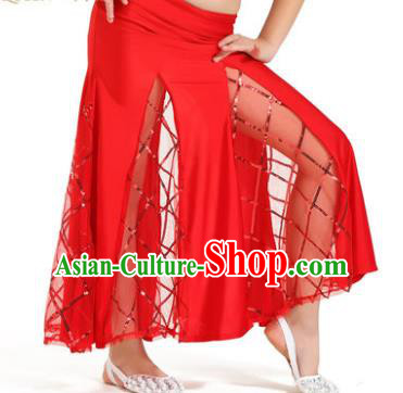 Indian Traditional Belly Dance Performance Costume Classical Oriental Dance Red Fishtail Skirt for Kids