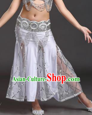 Indian Traditional Belly Dance Performance Costume Classical Oriental Dance White Fishtail Skirt for Kids