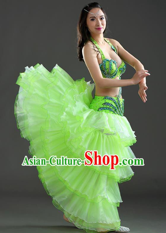 Indian Traditional Belly Dance Performance Light Green Dress Classical Oriental Dance Costume for Women