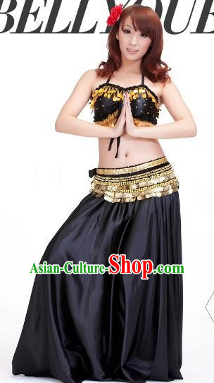Indian Belly Dance Black Dress Classical Traditional Oriental Dance Performance Costume for Women