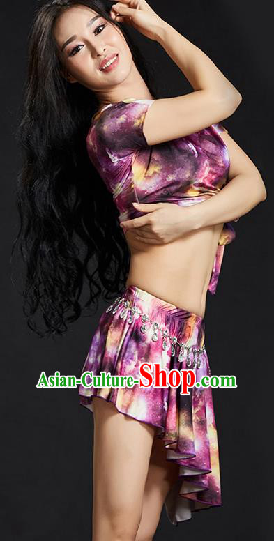 Indian Belly Dance Printing Purple Dress Classical Traditional Oriental Dance Performance Costume for Women