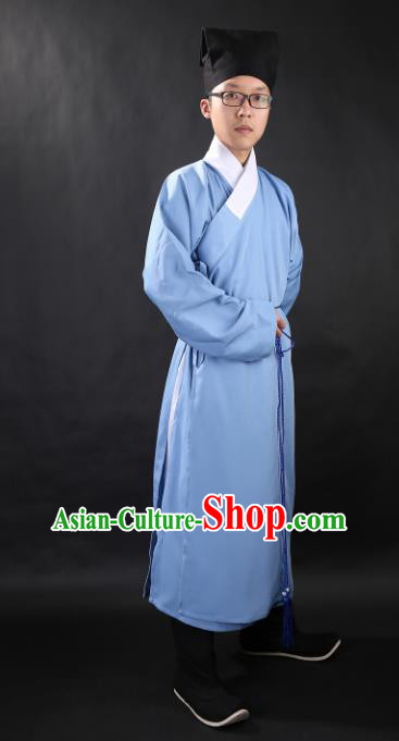 Chinese Ancient Scholar Blue Robe Ming Dynasty Swordsman Costumes for Men