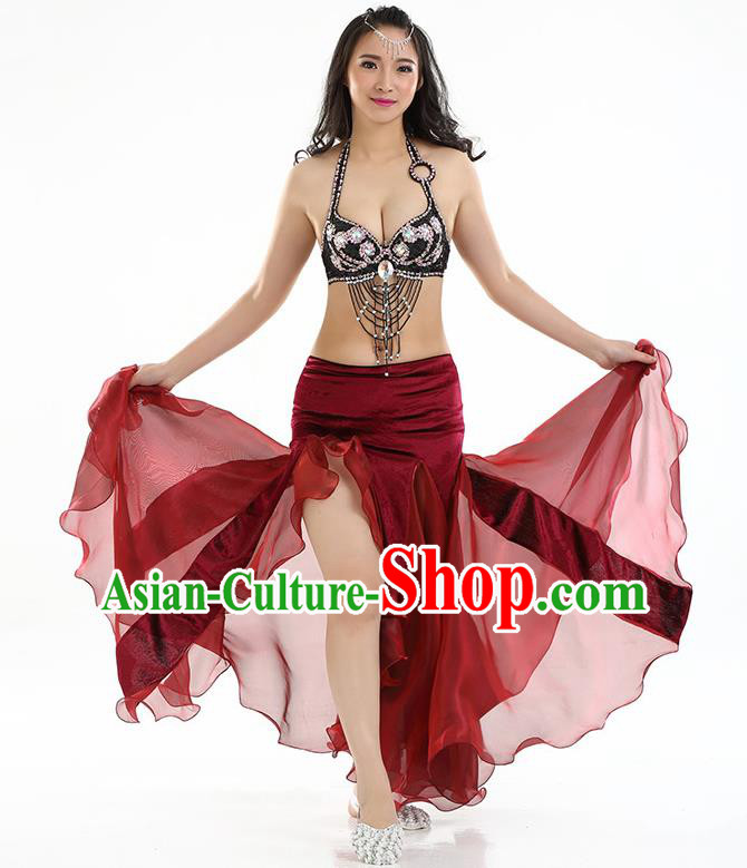 Top Indian Belly Dance India Traditional Raks Sharki Wine Red Dress Oriental Dance Costume for Women