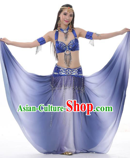 Asian Indian Belly Dance Costume Gradient Blue Dress Stage Performance Oriental Dance Clothing for Women