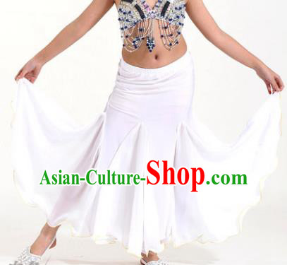 Asian Indian Belly Dance White Fishtail Skirt Stage Performance Oriental Dance Clothing for Kids