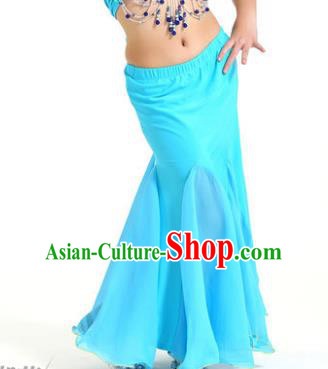 Asian Indian Belly Dance Blue Fishtail Skirt Stage Performance Oriental Dance Clothing for Kids