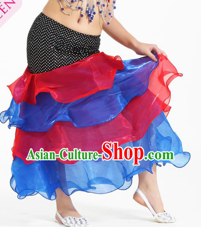 Asian Indian Belly Dance Red and Blue Skirt Stage Performance Oriental Dance Clothing for Kids