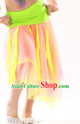 Asian Indian Belly Dance Yellow Veil Skirt Stage Performance Oriental Dance Clothing for Kids