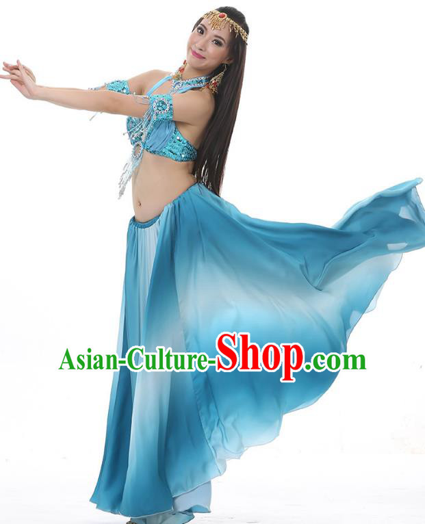 Asian Indian Belly Dance Costume Gradient Light Blue Dress Stage Performance Oriental Dance Clothing for Women