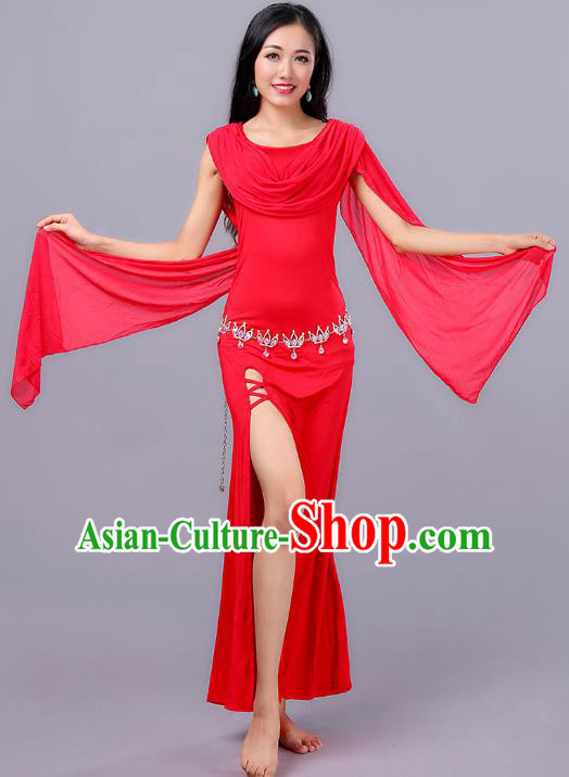 Asian Indian Belly Dance Red Dress Stage Performance Oriental Dance Clothing for Women