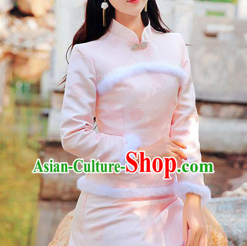 Chinese Traditional Costume Tangsuit Qipao Pink Blouse Cheongsam Shirts for Women