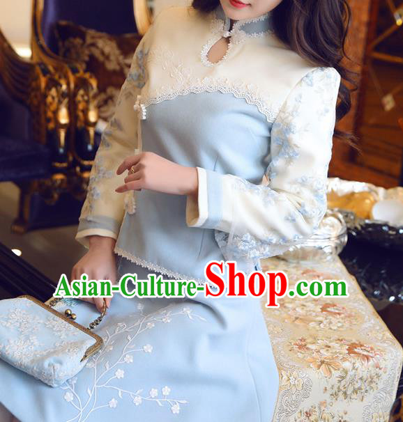 Chinese National Costume Tangsuit Qipao Blouse Cheongsam Shirts for Women