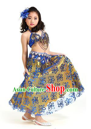 Asian Indian Children Belly Dance Royalblue Dress Stage Performance Oriental Dance Clothing for Kids