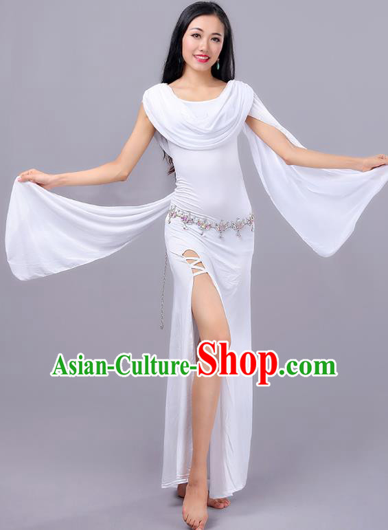 Asian Indian Belly Dance White Dress Stage Performance Oriental Dance Clothing for Women