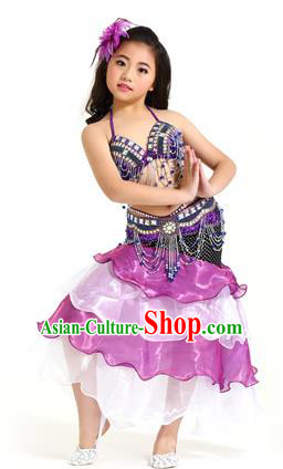 Asian Indian Children Belly Dance Purple and Pink Dress Stage Performance Oriental Dance Clothing for Kids
