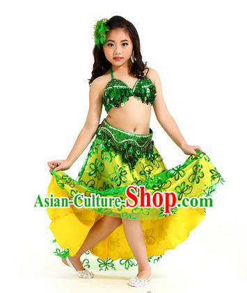 Traditional Indian Children Belly Dance Green Dress Raks Sharki Oriental Dance Clothing for Kids