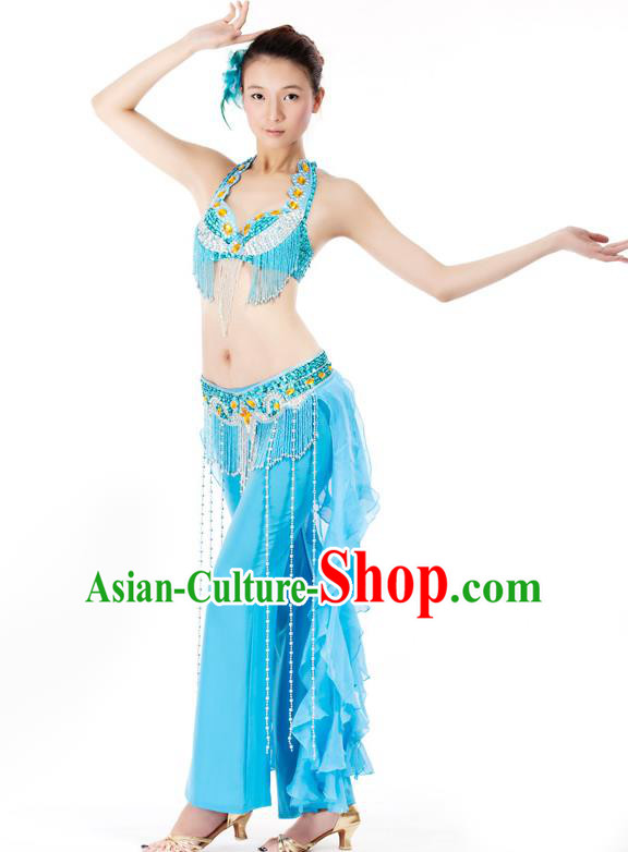 Top Grade Belly Dance Blue Uniform Indian Raks Sharki Oriental Dance Clothing for Women